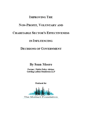 Improving the Non-Profit, Voluntary and Charitable Sector's Effectiveness in Influencing Decisions of Government.