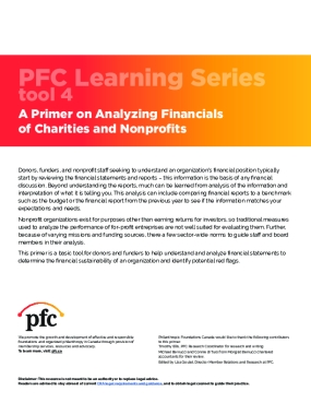 PFC Learning Series Tool 4: A Primer on Analyzing Financials of Charities and Nonprofits
